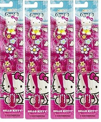 4 Kids ORAL-B Hello Kitty Sanrio Pink Manual GIRLS Toothbrushes SOFT Lot New