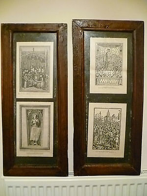 Two Antique French Wall Hangings - Historical Scene Prints: Britain / Breton War
