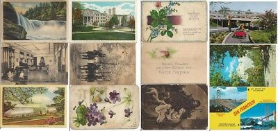 Vintage Lot 145 Different Postcards from 1920s to '70s' mainly 40s Free Shipping