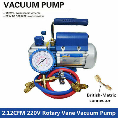 Rotary Vane Deep Vacuum Pump 1-Stage Gauge & Connector 2.12CFM 220V HVAC 1/5HP