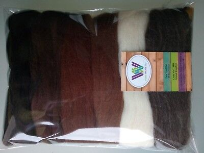 Brown set* Pure Wool Tops Dry & Wet Felting 6 Shades Natural White Brown 60 g