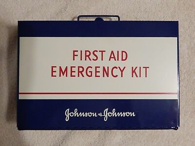 Vintage Johnson & Johnson Metal First Aid Kit With All Original Contents Unused