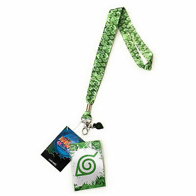 Naruto Shippuden Konoha Leaf Village Lanyard ID Badge Holder PVC Charm Official