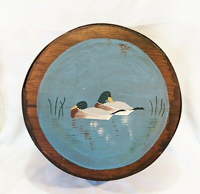 Decorative Vintage Wooden Cheese Box Hand Painted Duck Scene