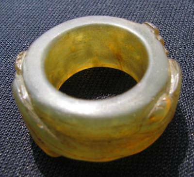 old natural jade hand carved dragon bless ring sz13 collectable