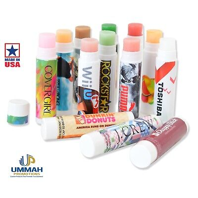 250 Personalized USA MADE Lip Balm With Your Logo, Graphics, Info or Message