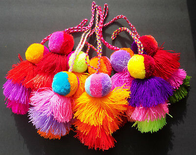 Mexican PomPom Tassel Keychain Zipper Charm Handbag Tote Mother's Day Gift