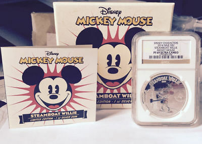 2014 Disney Steamboat Willie Mickey Mouse NGC PF69 Ultra Cameo Box Set Niue Mint