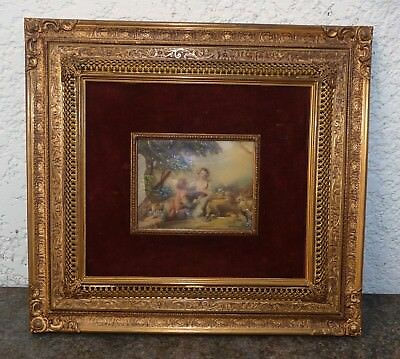 Large Hand Painted Romantic Miniature . Filigree Brass Frame. I Have More