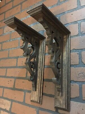2 Wood Corbels Bracket Shelf Rustic Victorian Hand Crafted Antique Look