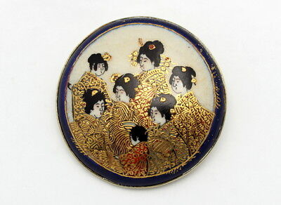 Fine Antique Meiji Japanese Satsuma Porcelain Brooch