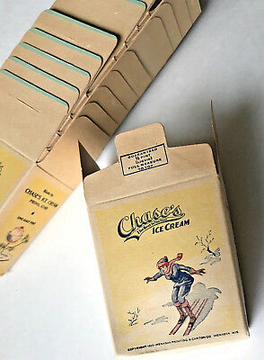 Vtg 1930s Girl Skiing on CHASE Ice Cream Box container Soda Fountain Provo Utah