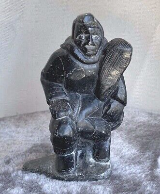 Inuit Art Soapstone carving Hunter w Seal, Joanasie in syllabics, 5x4x3, 88