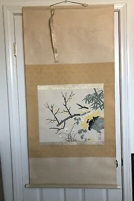 Preowned   Asian Watercolor Painting Scroll  Signed