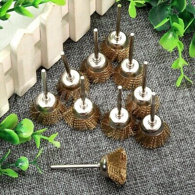 HQ 10Pcs 25mm Brass Wire Cup Brushes Wheel 3mm Shank Mandrel Grinder Rotary Tool