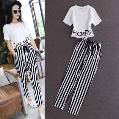 Summer Women's 2 Piece Short Sleeve Shirt Tops+Striped Pant Trousers Outfits Set
