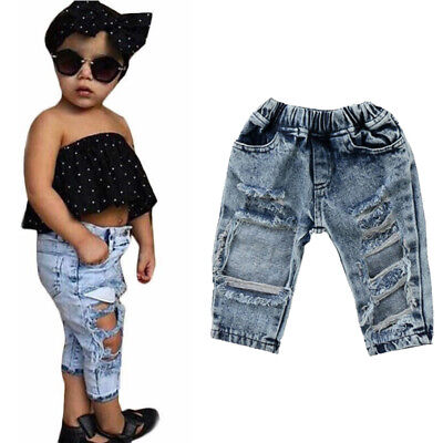 UK Stock Baby Kids Girls Jeans Pants Denim Long Trousers Hole Loose Ripped 1pc