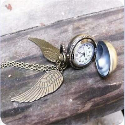Harry Potter Golden Wings Chain Snitch Pendant Pocket Watch Necklace