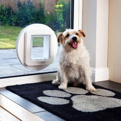Cat Dog Microchip Flap Pet Entry Door Window Wall Large Cats Small Dogs White