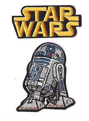 STAR WARS Iron on / Sew on 2-Piece Patch Set Embroidered Badge R2-D2 Movie PS13