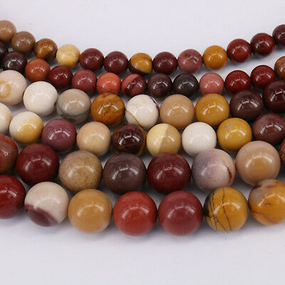15'' Natural Mookaite Gemstone Stone Spacer Loose Beads Jewelry Findings 4-10MM