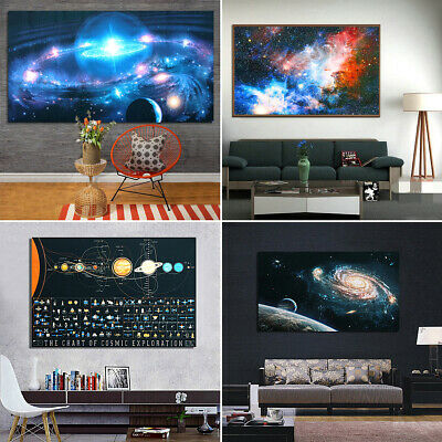 Universe Cosmic Moon Star Galaxy Space Planets Silk Cloth Poster Home Wall Decor