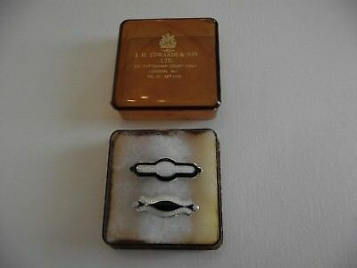 2 Antique Sterling Silver & Guilloche Enamel Brooches / Pins -C1920's Period Box
