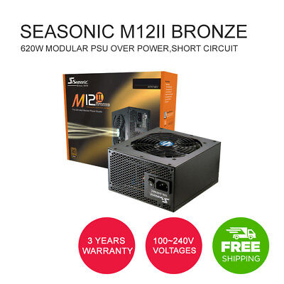 Seasonic M12II Bronze 620W Modular PSU Over Power,Short Circuit Protection