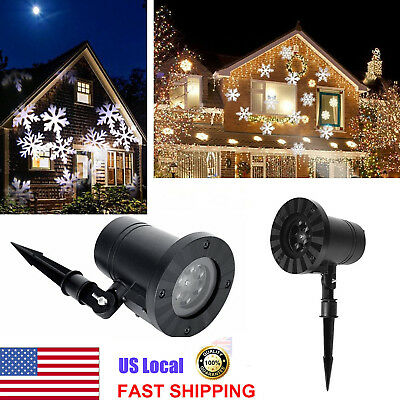 Xmas Snow Snowflake Laser Projector Garden Stage Christmas Party Led Light Decor
