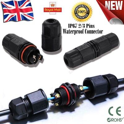 IP67 Waterproof Electrical Cable Wire 2//3 Pin Connector Outdoor Plug Sock/_fr