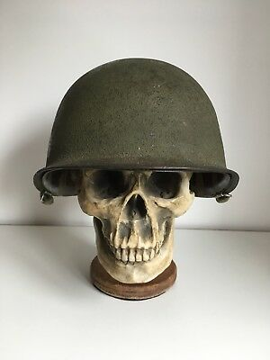 WW2 US M1 Helmet with Name & Unit Insignia