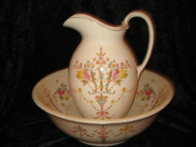 Antique Stoke on Trent Jug and Basin Set