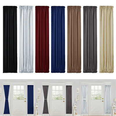 Solid Color Blackout French Door Curtain Panel Rod Pocket Window Treatment