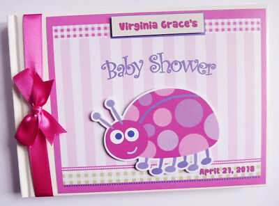 Personalised Ladybug Ladybird Baby Shower Guest Book -  Any Design