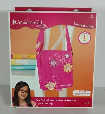 American Girl Crafts Fun Fabric Bag Warm Colors Flowers Buttons