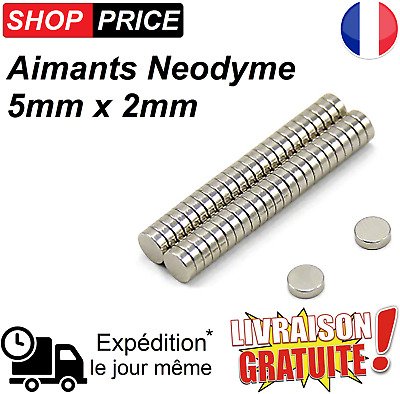 Lot Aimants Frigo Neodyme Neodium Rond Fort Strong Magnet 5 mm x 2 mm (NEUF)
