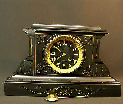 a lemoyne pendule horloge 38cm13kg ancienne marbre noir. Black Bedroom Furniture Sets. Home Design Ideas