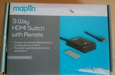 MAPLIN 3 Way Hdmi Switch Switcher With Ir Remote N06Gf Rrp