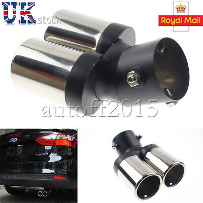 62mm Stainless Steel Dual Twin Exhaust Muffler Tail Pipe Tip UNIVERSAL UK