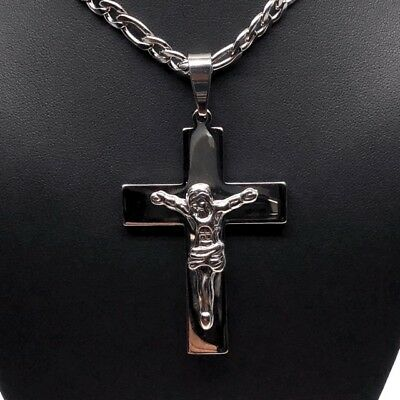 Stainless Steel 26 Inch Chain With Cross Jesus Crucifix