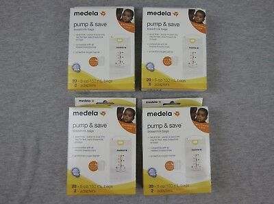 Lot of 4 NEW Medela Pump & Save Breastmilk Bags 20 x 4 80 Total Sealed.