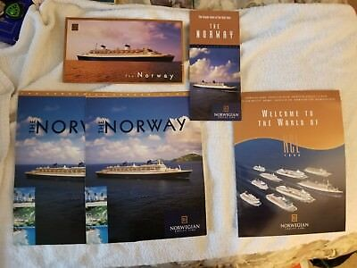 LOT OF Norwegian Cruise Line SS NORWAY BROCHURE and Postcard UNIQUE PIECE
