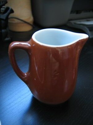 Shenango New Castle PA Brown Individual Creamer White Interior with Handle 602