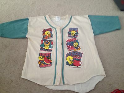 RARE Vintage 1995 Tweety Bird Baseball Jersey Mens L 90s Looney Tunes Button Up