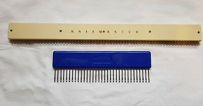 Rare Silver Reed Knitmaster Knitting Machine Parts Set Of Two Cast On Combs 9Mm