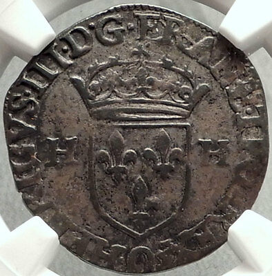 1576 FRANCE Silver Douzan Antique French Coin of KING HENRY III NGC XF i68308