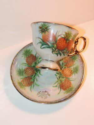 Vtg Cup Saucer November Pineapple Footed Pearl Luster Iridescent Gold UCAGCO