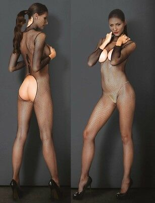 Black Hooded Fishnet Bodystocking W/Crotchless Open Back & Snap Detail, Kink