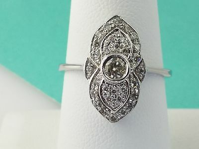 Victorian 18k White Gold Floral Oval .50cts 1/2 Carat Diamond Ring Size 7.5
