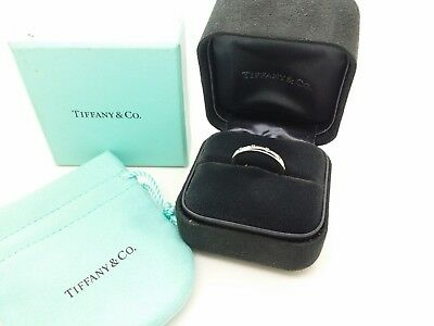 Tiffany & Co 18k White Gold Bezet Eternity Diamonds Wedding Band Ring Size 7 Box
